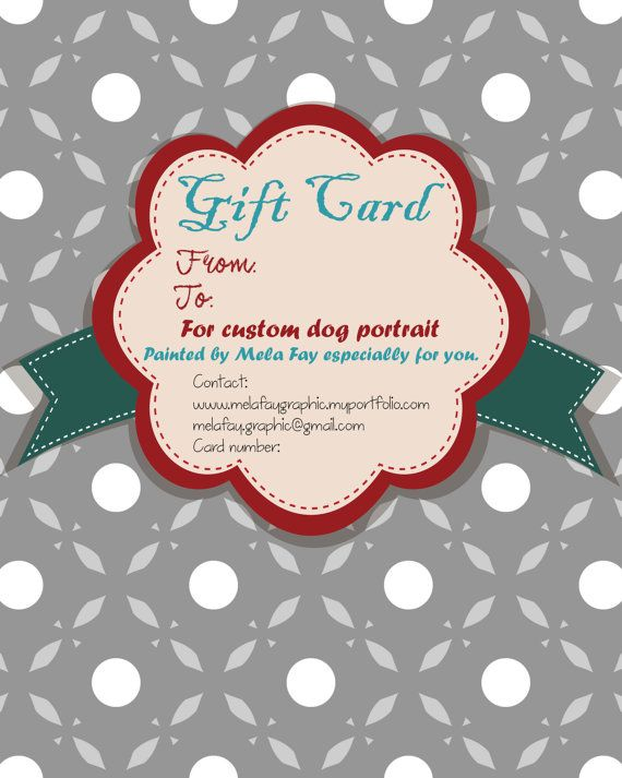 Gift Card Custom portrait gift card Dog by MelaCustomPortraits