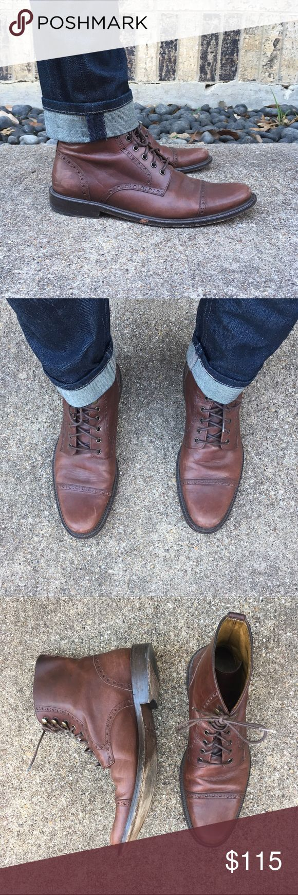 Men's Lace Up Brown Boots Billy Reid Men's Lace Up Brown Boots Billy Reid. Cap toe pattern. All natural leather. Handmade in Italy. Billy Reid Shoes Lace Up Boots