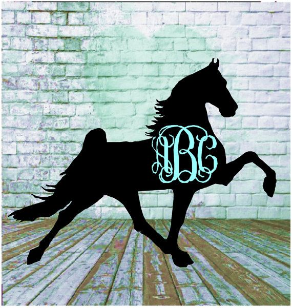 Personalized Tennessee Walking Horse Decal with Monogram, Horses, Any Breed, Car Decal, Laptop Decal, Mug Decal, Yeti Decal, Horse Gifts