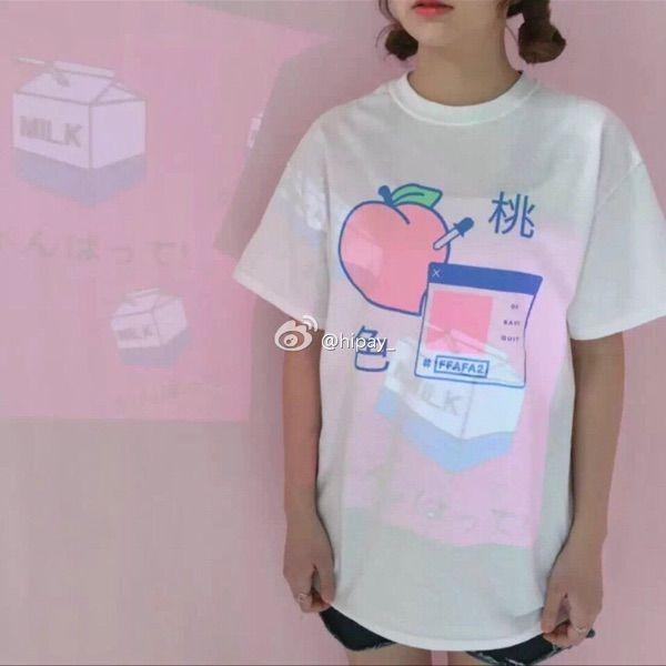 Aliexpress.com: Koop 2017 harajuku kawaii leuke zoete rits stijl roze perzik gedrukt t shirt wit katoen korte tops van betrouwbare short sleeve leveranciers op MISS LULULU