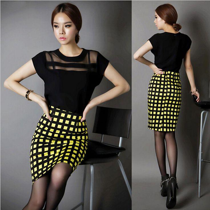 2015 New OL Fashion Plaid Skirts Elegant Women High Waist Long Pencil Skirt Saia Longa Free Shipping 12129