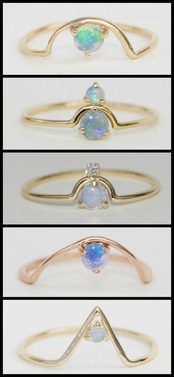 WWAKE's gold and opal rings, some with diamonds and opalite.