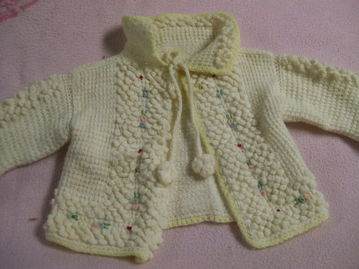 Vintage Baby Sweater Hand Knitted Poodle Knit Baby Girl Sweater. $14.50, via Etsy.