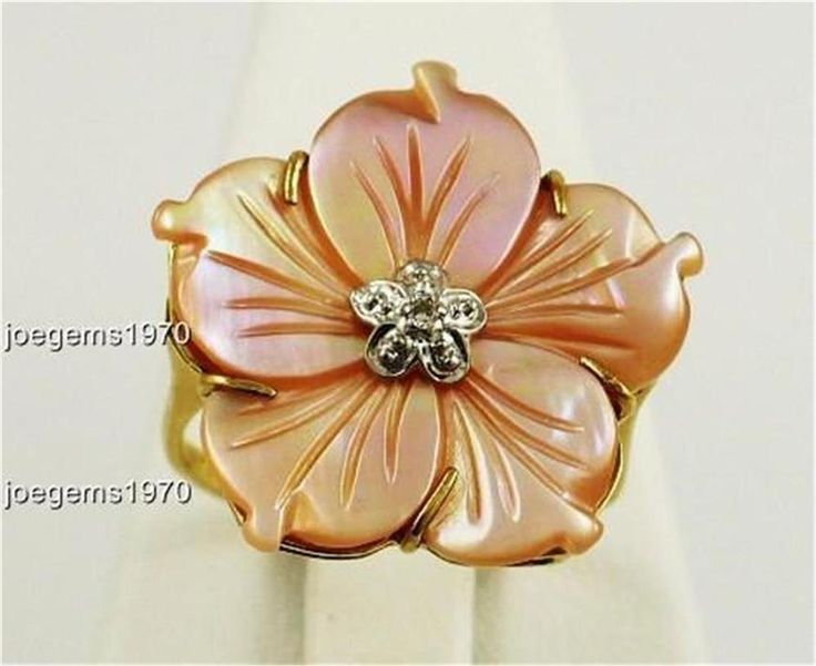 """RING Carved Mother of Pearl 2D FLOWER 3/4"""" wide 14k Solid Gold Size 6.5 NEW"""