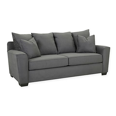 Lounge out in the comfortable Klaussner Heather Polyester Sofa. Constructed of durable hardwood, this sofa features cozy foam cushions, and soft upholstery that will make family movies nights so much more comfortable.