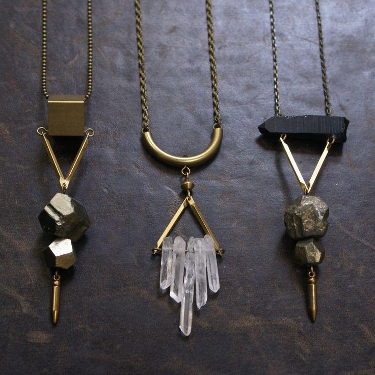 Pyrite, brass, quartz necklaces : $35 - While Odin Sleeps | STORE