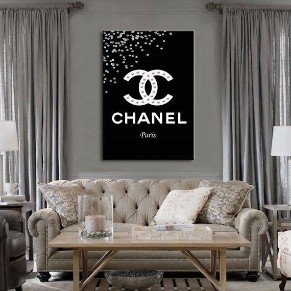 Fashion Wall Art Canvas Wall Art Chanel Logo Prints Chanel Etsy Chanel Wall Art Fashion Wall Art Fashion Wall Art Canvases