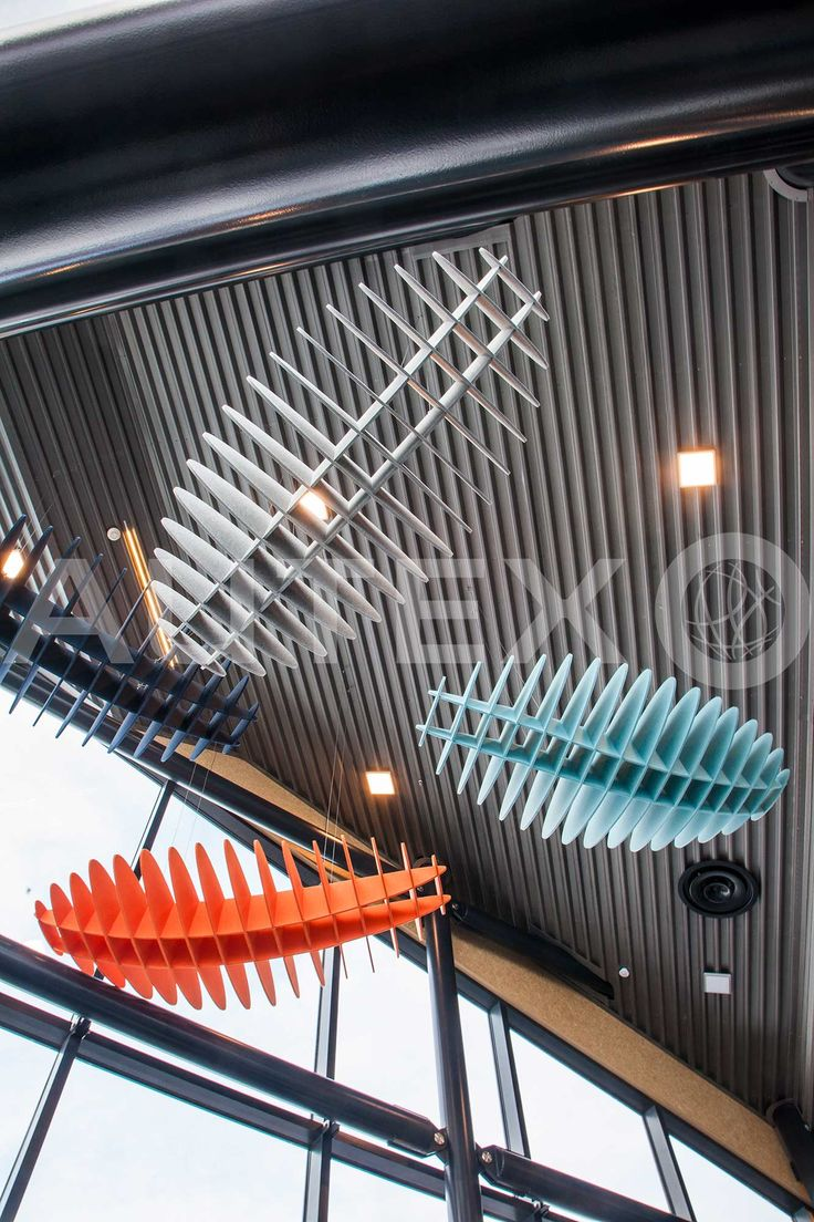 Quietspace® Lattice - Eclipse - Acoustic Baffles - The Remarkables, Otago, NZ - Suspended from ceiling - Colours: Zenith, Falling Water, Flatiron and Pinnacle