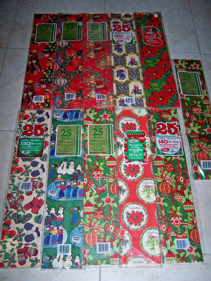Vtg Christmas Holiday Santa Gift-Wrap-Cleo Wrapping Paper-275-Sq-Ft-Sealed