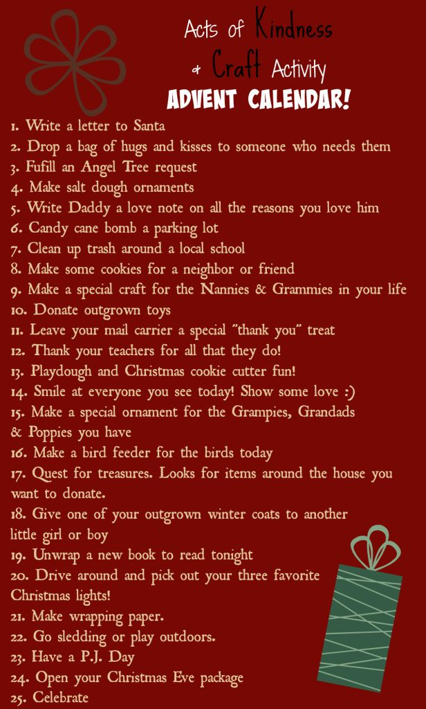 Acts of Kindness, crafts and activities Advent Calendar for toddlers and kids.