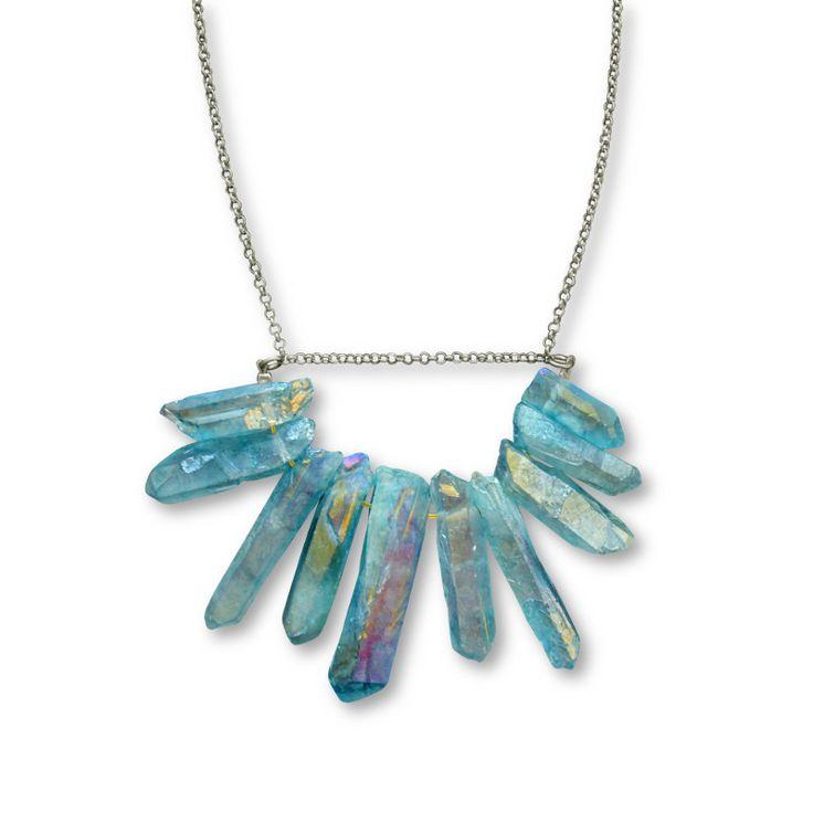 Crystal quartz neclace aqua aura/ Jewelietta