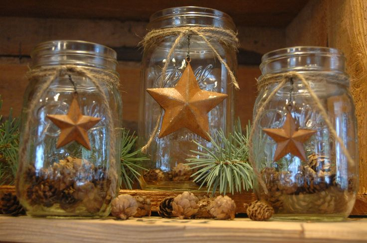 rustic stars | Rustic set of 3 Mason Jars with Barn Stars for your decor  primitive ... | mason jar ideas | Pinterest | Jar, Barn star decor and Barn