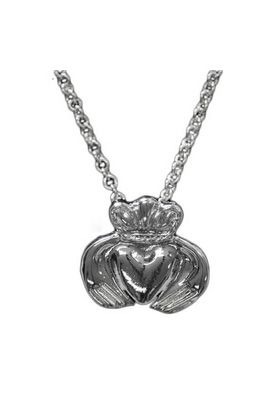 Claddagh Pendant in polished silver pewter. The Claddagh, symbolising love, friendship and loyalty has been used for centuries in Irish jewellery.