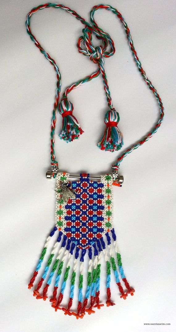 Peyote Dorado Mexican Beaded NecklaceColorful Beaded by NazoDesign, $40.00