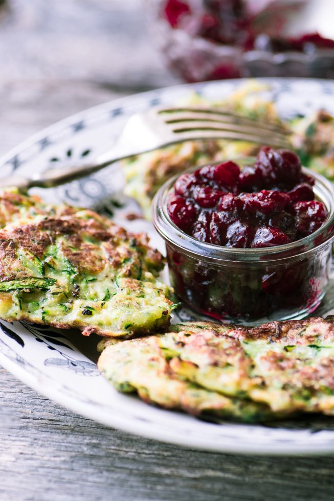 Zucchini Latkes with Maple Cranberry Sauce