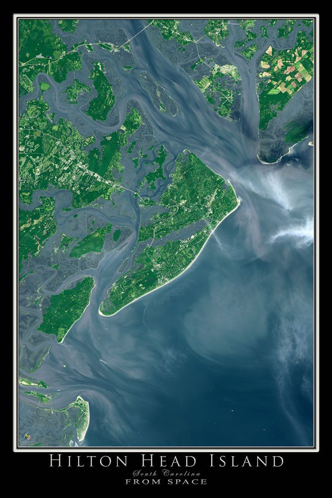 Hilton Head Island South Carolina Satellite Poster Map