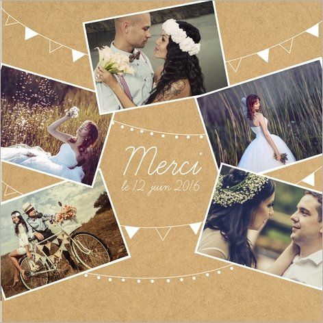Carte de remerciements mariage fanions