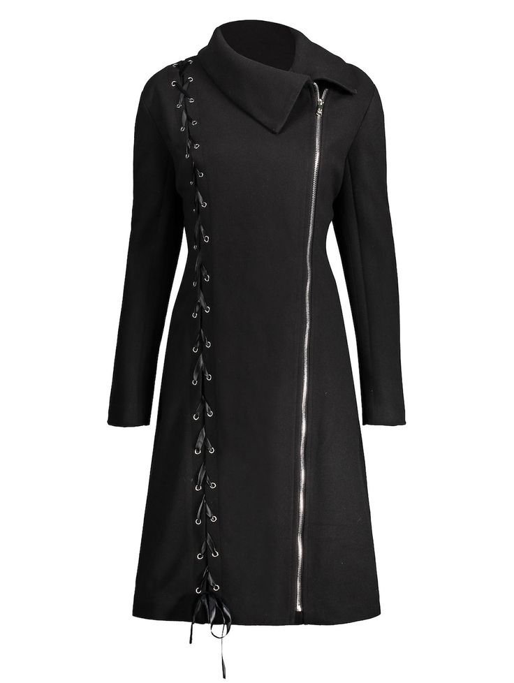 Lace Up Plus Size Zip Up Coat, BLACK, XL in Plus Size Outerwear | DressLily.com