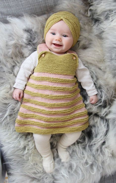 I love #knitting for babies!  This dress and turban set it too cute.