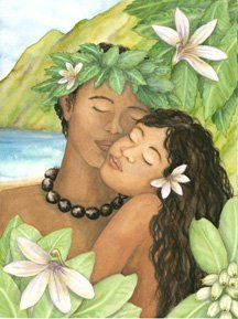 Naupaka and Anemone ~ Joanna Carolan   One of Hawaii's most famous legends is built around naupaka, a shrub found in the mountains or near the beach. The flower's unique appearance—it resembles a half-flower, with petals missing—caused early Hawaiians to believe it was the incarnation of an ancient native separated from her lover.