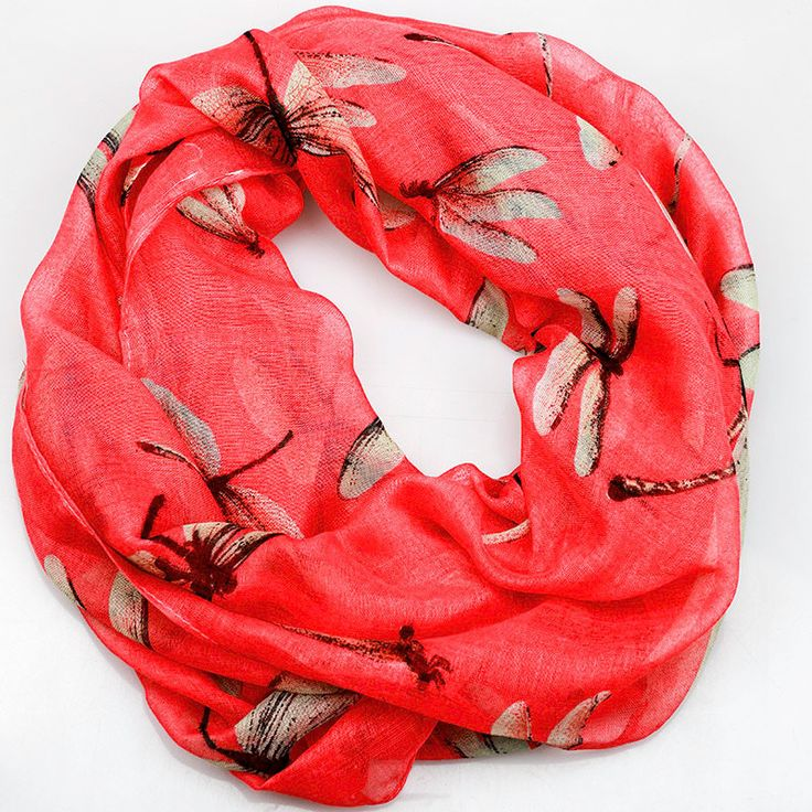$11.99, Coral Dragonfly Inifinity Scarf, women for her fashion accessoires teen gift idea holiday travel loop circle by URFashionista.com on Etsy