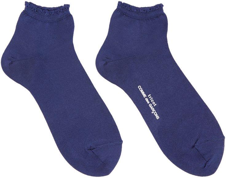 Tricot Comme des Garçons: Chaussettes à volants bleu marine | SSENSE