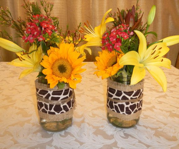 Burlap and Giraffe Mason Jar Wrap, Mason Jar Decoration, Burlap Ribbon, Baby Shower, Party, Bridal Shower, Wedding Decoration on Etsy, $7.50