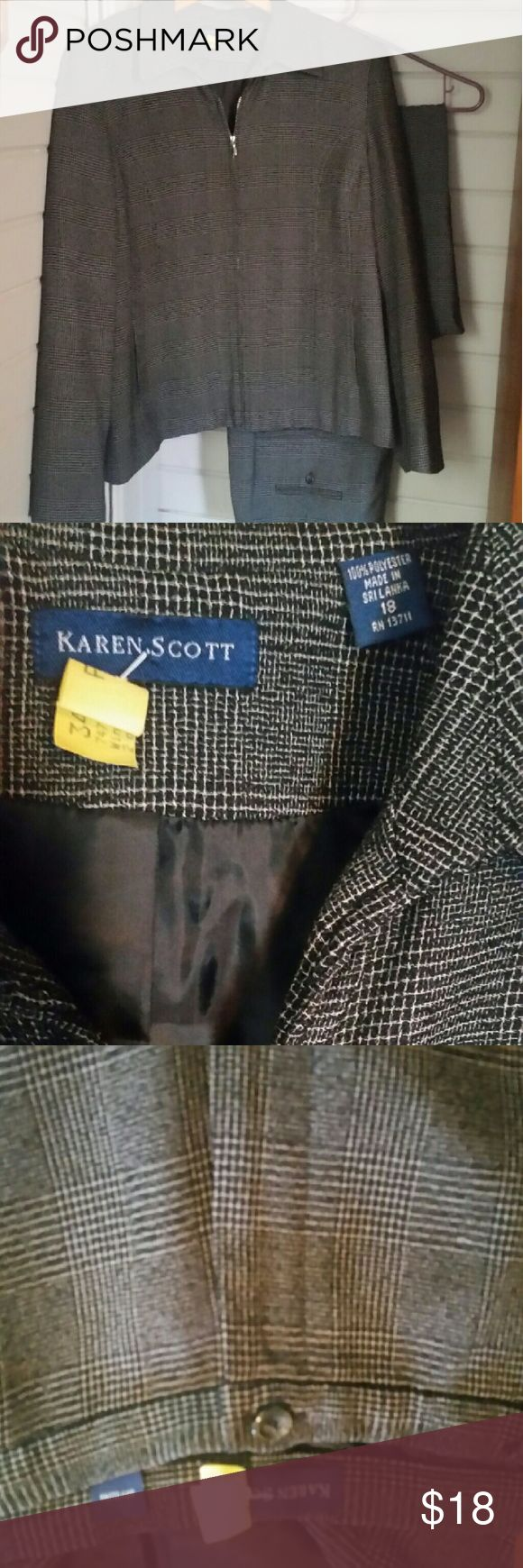 Grey and black plaid pant suit Sz 18 Zipper jacket and matching pants.  Great used condition but the zipper is slightly sticky. Sz 18 but i would say this runs slightly large. Karen Scott Jackets & Coats Blazers
