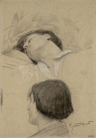 Drawings 1 / Kopfstudie eines liegenden jungen Mannes, darunter Kopf im verlorenen Profil (Studien für das 'Theater Shakespeares' im Burgtheater) 1887