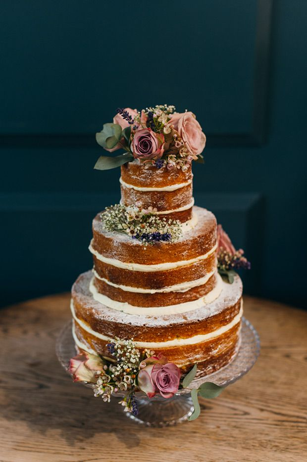 rustic wedding cake with roses   www.onefabday.com
