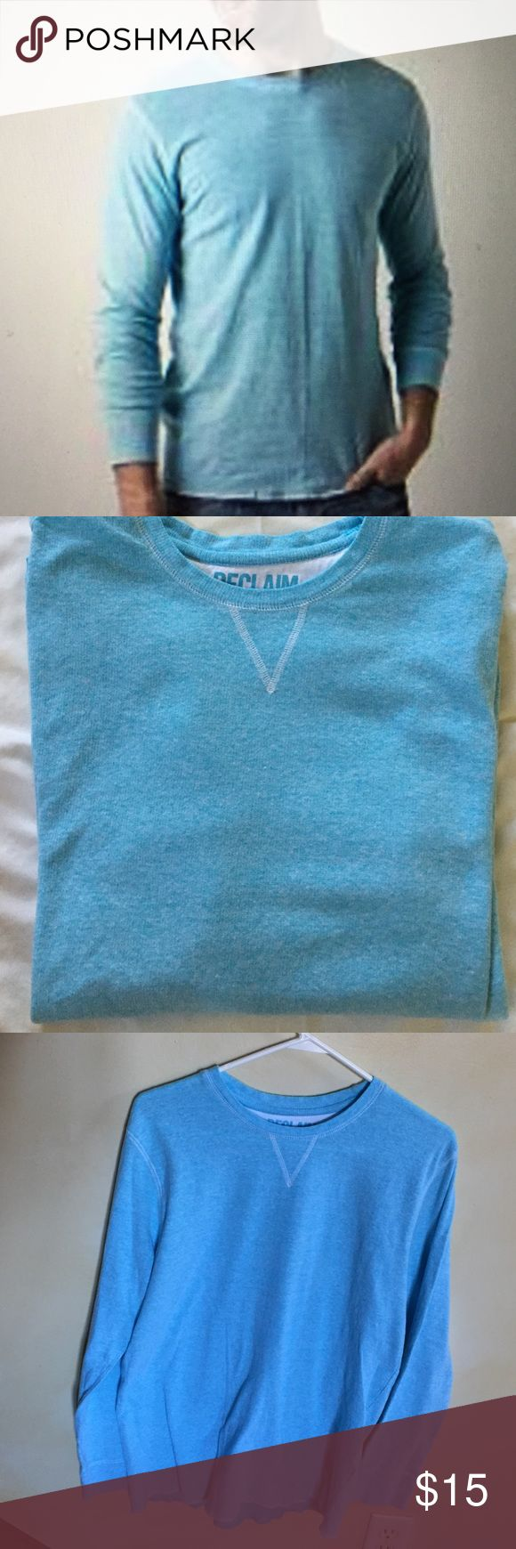 Men's Reclaim Standard Fit Henley Reclaim thermal Henley. Men's size XL standard fit. 100% cotton. Worn only a few times. Good condition. No signs of wear. Color is aqua/light blue. Purchased at Buckle store. Reclaim Shirts Tees - Long Sleeve