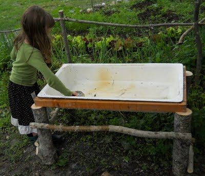 Love this stand...water table from an old sink and beautiful logshttp://pinterest.com/pin/90142430011433966/#