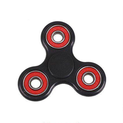 HENGSONG Enfants Tri Fidget Hand Spinner Focus Plastique Jouet Mini Poche Jouet Triangle Gyro Cadeau pour Adultes (Noir Rouge)
