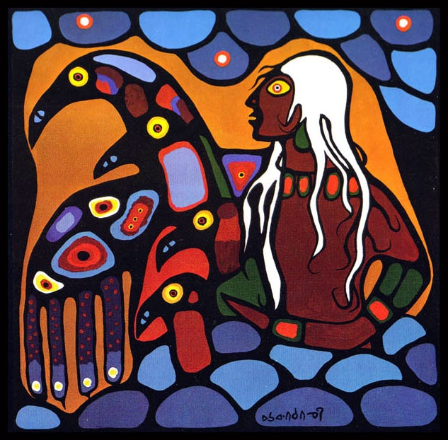 Warrior with Thunderbirds - Norval Morrisseau - 1973