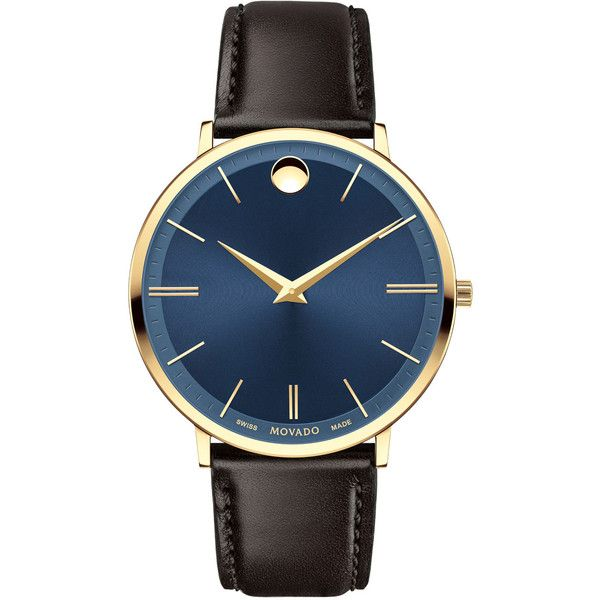 Movado 40mm Yellow Gold Ultra Slim Watch (2,555 AED) ❤ liked on Polyvore featuring men's fashion, men's jewelry, men's watches, brown, slim mens watches, men's blue dial watches, movado mens watches, mens brown leather watches and mens gold watches