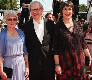 Film director Ken Loach with wife Lesley Ashton (on left) and producer Rebecca O'Brien at the 2010 Cannes film festival
