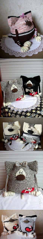 Забавные кото-подушки :)