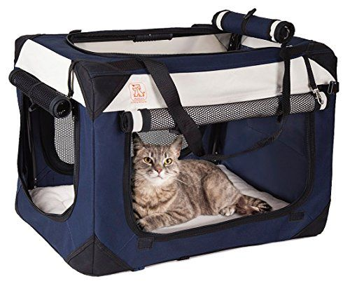 PetLuv Ultra Deluxe Cat Carrier & Travel Crate Padded Soft Sided With Plush Sleep Pillow Foldable Collapsible Pet Carrier For Cats