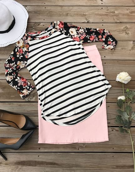 Comfy striped & floral baseball shirt for women