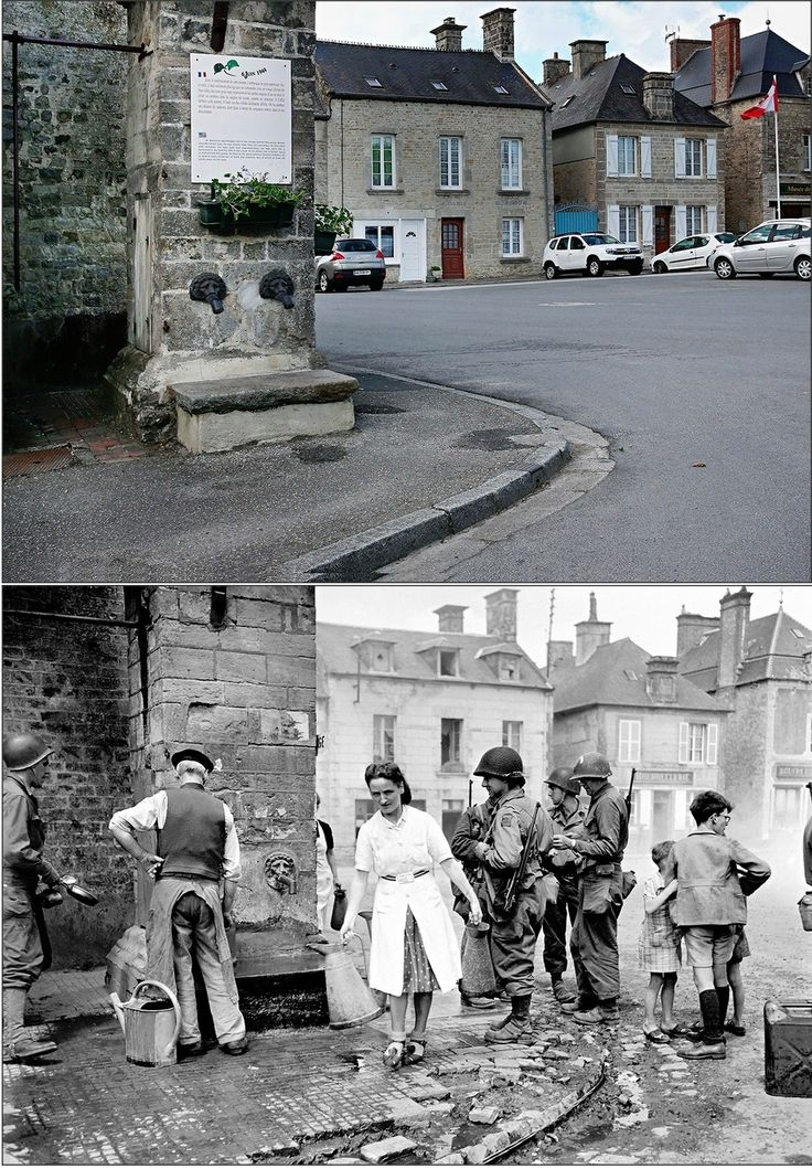 12 June 1944: A group of American soldiers stand in the village of Sainte-Marie-du-Mont, which was liberated by paratroopers of the 501st and 506th Regiments of the 101st Airborne Division. 7 May 2014: A view of the old village fountain today.