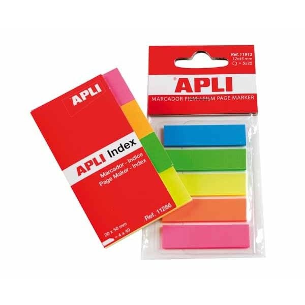 Comprar Indices Autoadhesivos Film Fluor 12x 45 mm Apli 11912  #oficina #tienda #notas #indices #adhesivas #colores #rollo #bloc #taco