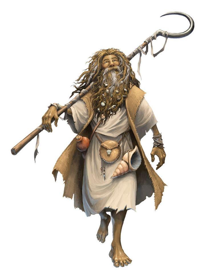 Old Man Seaside Druid - Pathfinder PFRPG DND D&D d20 fantasy