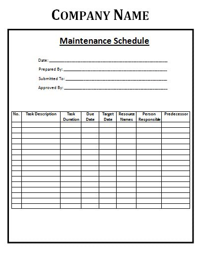 Maintenance Schedule Template will help you keep track of your ...