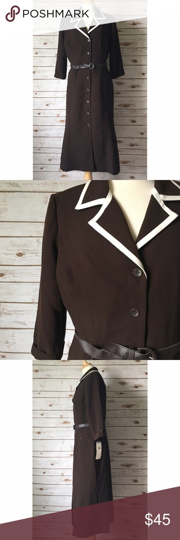 "Studio One Brown Button Down Suit Dress Classy brown button down dress by Studio 1. ▪️48"" long ▪️17"" shoulder to shoulder ▪️22"" pit to pit ▪️18"" sleeves length ▪️18"" waist laid flat ▪️23"" hip laid flat ▪️Shoulder pads ▪️New; never worn  🚭 Smoke-free home 📬 Ships by next day 💲 Price negotiable  🔁 Open to trades  💟Happy Poshing!💟 Studio One Dresses Midi"