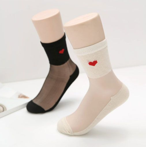 New Unisex Red Point Heart See-through Cotton Spandex Cute Socks_Black & Ivory