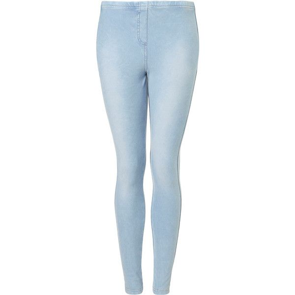 TOPSHOP Bleached Denim Leggings ($15) ❤ liked on Polyvore featuring pants, leggings, jeans, bottoms, pantalones, bleach stone, leggings jeggings, topshop leggings, jeggings leggings and blue denim leggings