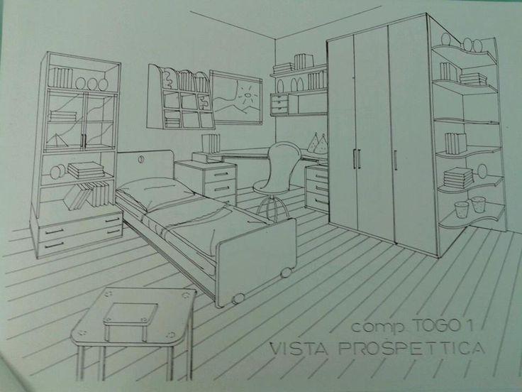 Progetto Cameretta con zona studio ad angolo e composizione armadio con elemento terminale a giorno.