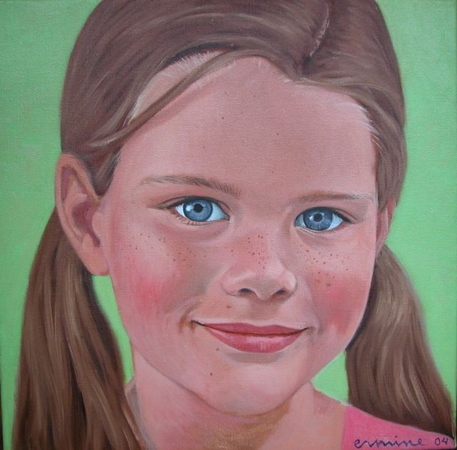 girl, 40x 40cm, oil on canvas ©ermine  #art #portrait