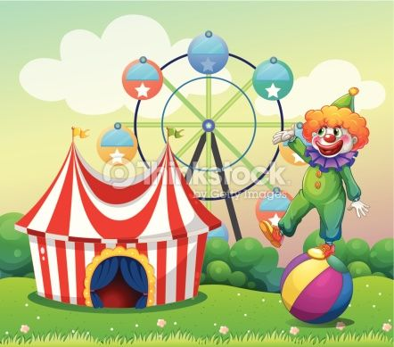 Vector Art : Clown standing above the ball at carnival