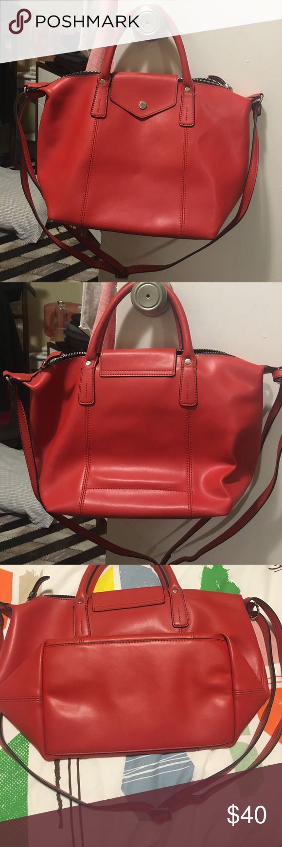 """Emma & Sophia red leather convertible tote Great condition aside from the two corners as shown in the photos. Straps were reinforced at local leather shop with studs so it can handle more weight. 12"""" MacBook for size reference. SIZE 10""""x 5 1/2""""w 9 1/2""""h emma & sophia Bags Crossbody Bags"""